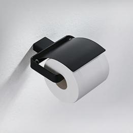 Homelody Edelstahl Toilettenpapierhalter mit Lack beschichtet Klopapierhalter Rollenhalter WC-Papierhalter Toilettenpapierrollenhalter Wandrollenhalter für Bad (Schwarz) - 1