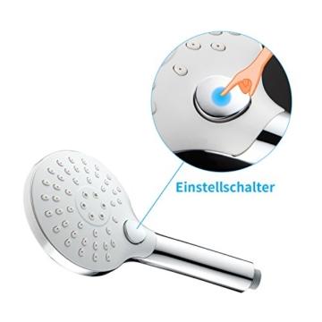 Homelody Handbrause Brausekopf 3 Strahlarten Knopfdruck Verstellbar Brause Duschkopf Multifunktionsduschkopf Regendusche Antikalknoppen Duschbrause - 3