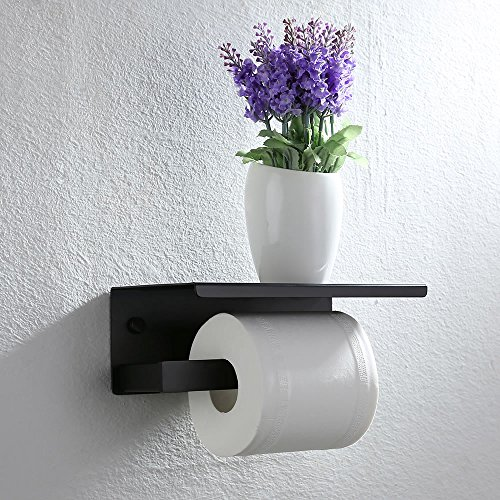 homelody toilettenpapier halter schwarz toilettenpapierhalter 2in1 wandhalter mit ablage wc. Black Bedroom Furniture Sets. Home Design Ideas
