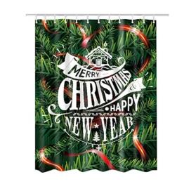 Hoomall Duschvorhang Wasserdicht Schimmelfrei Textil Digitaldruck Badezimmer Duschvorhänge Weihnachtsbaum Muster im Maß 180X180cm - 1