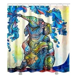 Hoomall Duschvorhang Wasserdicht Schimmelfrei Textil Digitaldruck Badezimmer Duschvorhänge Elefant Muster im Maß 180X180cm - 1
