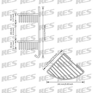 KES A2124 Duschregal mit Handtuchhaken, 2 Etagen, aus Edelstahl, Wandmontage - Edelstahl gebürstet -