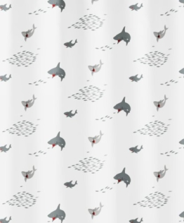 Kleine Wolke 5206185305 Duschvorhang Sharky, 180 x 200 cm, schwarz weiß - 1