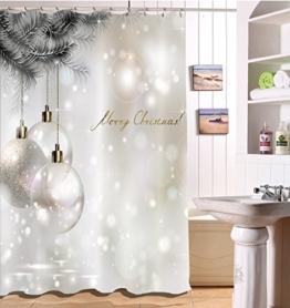 LB 150x180cm Polyester Stoff Bad Vorhänge mit 10 Haken Wasserdicht Fröhliche Weihnachten 3D-Druck Gemusterten Duschvorhang für Bad Dekoration - 1