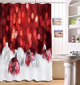 LB 150x180cm Polyester Stoff Bad Vorhänge mit 10 Haken Wasserdicht Rote und weiße Weihnachtskugeln 3D-Druck Gemusterten Duschvorhang für Bad Dekoration - 1