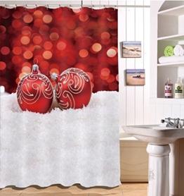 LB 150x180cm Polyester Stoff Bad Vorhänge mit 10 Haken Wasserdicht Rote Weihnachtskugeln auf dem Schnee 3D-Druck Gemusterten Duschvorhang für Bad Dekoration - 1