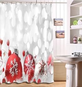 LB 150x180cm Polyester Stoff Bad Vorhänge mit 10 Haken Wasserdicht Schneeflocke auf den Weihnachtsbällen gedruckt 3D-Druck Gemusterten Duschvorhang für Bad Dekoration - 1