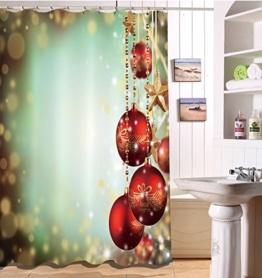 LB 150x180cm Polyester Stoff Bad Vorhänge mit 10 Haken Wasserdicht Weihnachten rote Bälle 3D-Druck Gemusterten Duschvorhang für Bad Dekoration - 1
