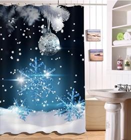 LB 150x180cm Polyester Stoff Bad Vorhänge mit 10 Haken Wasserdicht Weihnachtskugel und Schneeflocke 3D-Druck Gemusterten Duschvorhang für Bad Dekoration - 1