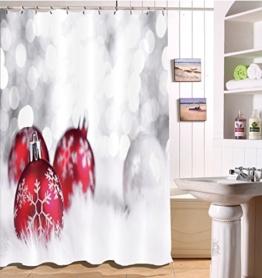 LB 150x180cm Polyester Stoff Bad Vorhänge mit 10 Haken Wasserdicht Weihnachtskugeln auf dem weißen Teppich 3D-Druck Gemusterten Duschvorhang für Bad Dekoration - 1