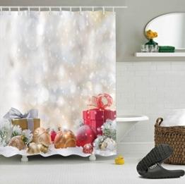 LB 180x180cm Polyester Stoff Bad Vorhänge mit 12 Haken Wasserdicht Weihnachtskugeln und Geschenke mit Schneeflocke 3D-Druck Gemusterten Duschvorhang für Bad Dekoration - 1