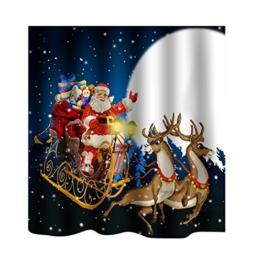 MagiDeal Badezimmer Extra lang Tiere Schimmelresistenter Wasserabweisender Stoff-Duschvorhang 180 x 180cm - Weihnachtsmann, 180 x 180 cm - 1
