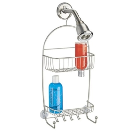 mDesign Duschablage Edelstahl - Duschregal ohne Bohren montieren - Duschkorb zum Hängen - Satinierte und rostfreie Oberfläche - Für Duschzubehör jeder Art -