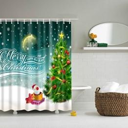 Minuya Weihnachtsmann Tannenbaum Schneemann Duschvorhänge Verdicken Anti-Schimmel Textilien für Badezimmer Familie Haus Wohnung Duschvorhang - 1