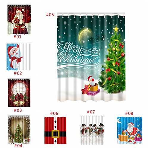 minuya weihnachtsmann tannenbaum schneemann duschvorh nge verdicken anti schimmel textilien f r. Black Bedroom Furniture Sets. Home Design Ideas