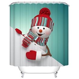 Nettes Schneemann-Dekor-Textilentwurfs-Gewebe-Badezimmer-Duschvorhang-Satz mit 12 Plastikhaken wasserdicht und schimmelresistent , 200*180cm - 1