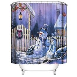 Nibesser 180*200cm Weihnachten Schneemann Anti-Schimmel Duschvorhang waschbarer Textil Badewannenvorhang Digitaldruck für Badezimmer Badewanne (Typ 7) - 1