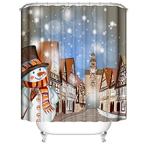 duschvorhang weihnachtslandschaft mit schneemann. Black Bedroom Furniture Sets. Home Design Ideas