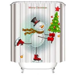 Nibesser 180*200cm Weihnachten Schneemann Anti-Schimmel Duschvorhang waschbarer Textil Badewannenvorhang Digitaldruck für Badezimmer Badewanne (Typ 2) - 1