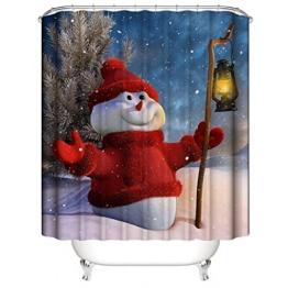 Nibesser 180*200cm Weihnachten Schneemann Anti-Schimmel Duschvorhang waschbarer Textil Badewannenvorhang Digitaldruck für Badezimmer Badewanne (Typ 3) - 1