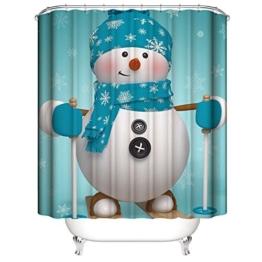 Nibesser 180*200cm Weihnachten Schneemann Anti-Schimmel Duschvorhang waschbarer Textil Badewannenvorhang Digitaldruck für Badezimmer Badewanne (Typ 1) - 1