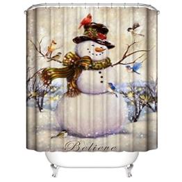 Nibesser 180*200cm Weihnachten Schneemann Anti-Schimmel Duschvorhang waschbarer Textil Badewannenvorhang Digitaldruck für Badezimmer Badewanne (Typ 5) - 1
