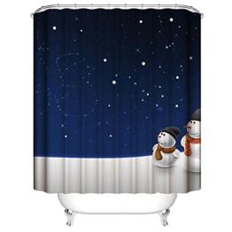 Nibesser 180*200cm Weihnachten Schneemann Anti-Schimmel Duschvorhang waschbarer Textil Badewannenvorhang Digitaldruck für Badezimmer Badewanne (Typ 4) - 1