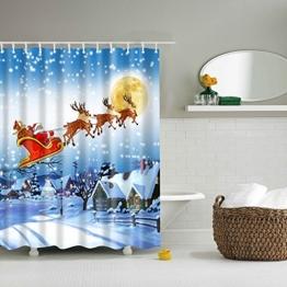 Nibesser Anti-Schimmel Duschvorhang Waschbarer Textil Badewannenvorhang Polyester Badvorhang Weihnachtsmann und Davidshirsch Digitaldruck mit 12 Duschvorhangringe für Badezimmer (180*200cm) - 1