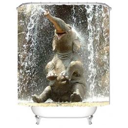 Nibesser Duschvorhang Anti-Schimmel wasserdichter Textil Duschvorhang Elefant Digitaldruck mit 12 Duschvorhangringe für Badezimmer (180cmx180cm) - 1