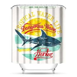 QEWA® Duschvorhang Shower Curtains Polyester 3D Hai Wasserdicht Mouldproof Verdickt Badezimmer Trennwand Vorhang Badvorhang , shark 180*200 - 1