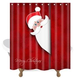 """Transer® Merry Christmas Custom Duschvorhang mit Haken & Flanell Matte, wasserdicht, Weihnachten Home Decor NEW Badezimmer 152,4x 182,9cm, D, Only Curtain 60"""" x 72"""" - 1"""