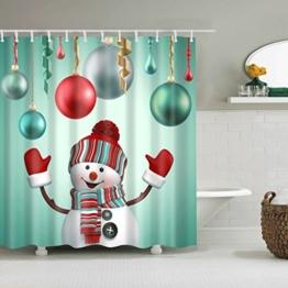 TXXM Duschvorhänge Weihnachten Schneemann Muster Wasserdicht Schnell trocknend Umweltschutz Materialien Metall Haken Hängeloch Duschvorhänge ( größe : 180*200cm ) - 1