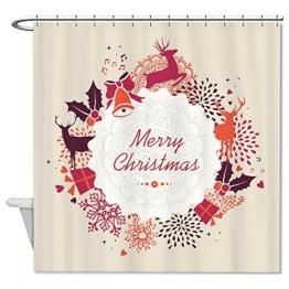 warrantyll Merry Christmas Deer Polyester Duschvorhang wasserdicht 182,9x 182,9cm - 1