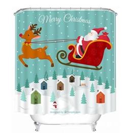 Weihnachten 3D Weihnachtsmann Digitales Drucken Blackout Verdickt Wasserdicht Duschvorhang Badezimmer Dekoration Okklusion Privatsphäre , wide 165cmx high 180cm - 1