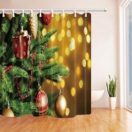 Weihnachtsdekor Duschvorhänge von KOTOM Weihnachtsgeschenke und Ball aTied Grüne Kiefer Nadeln Glänzende Sterne Backdrop Bad Vorhänge, 69X70 Zoll - 1