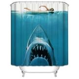 Weißer Hai Duschvorhang Polyester 180 x 180cm Anti-Schimmel Effekt Mehltaubeweis Holzbrücke Duschvorhang mit Haken Bad Dekorationen - 1