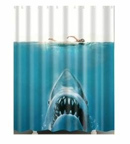WINGONEER Home Bad Wasserdichte Mehltau Polyester Duschvorhang mit Haken - Frau und Hai - 1