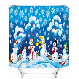 ZWZT Snowy Nacht Schneemann Musterform Bad wasserdicht Polyester 3D-Shading-Wärme Dekostoff Duschvorhang Liner Akkumulieren abgeschlossen , wide 200cm* high 180cm - 1