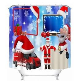 ZWZT Weihnachtsmann Toilette Bad Mehltau wasserdichte Polyester 3D-Shading-Wärme Dekostoff Duschvorhang Liner Akkumulieren abgeschlossen , wide 180cm* high 180cm - 1