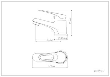 Eisl Waschtischarmatur Speed, Einhebelmischer mit Exzentergarnitur, Weiß, NI075SCR-W - 2