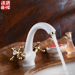 Furesnts moderne Home Küche und Bad Armatur alle warmen und kalten Mixer Wasserhähne Porzellan Elegantes weißes gold Händen runde kleine Schlaufe Mixer,(Standard G 3/8 Universalschlauch Ports) - 1