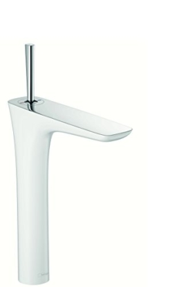 hansgrohe PuraVida Einhebel-Waschtischmischer, Komfort-Höhe 240mm mit Push-Open Ablaufgarnitur, weiß/chrom - 1