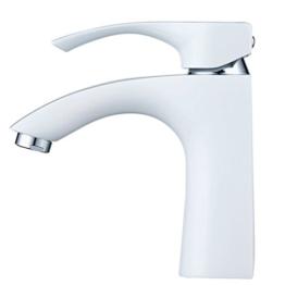 Hiendure® Messing Elegantes Design Wasserhahn Bad Luxuriöse WC Waschtisch Armaturen Bad Heiß-kalt Konvertierungen Weiße & Chrom - 1