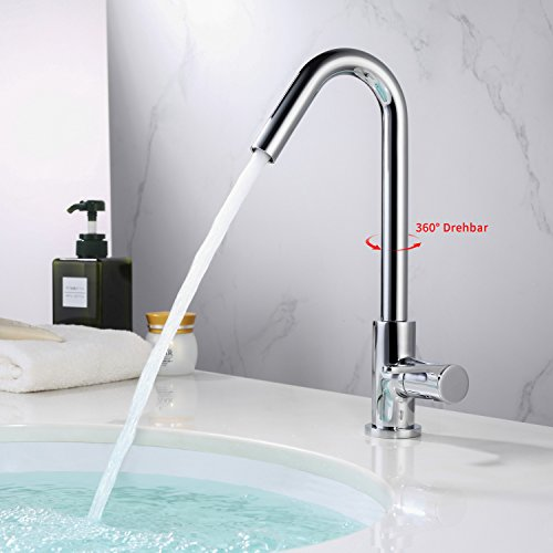 homelody kaltwasser armatur mit 360 drehbar kaltwasserhahn bad mischbatterie einhebelmischer. Black Bedroom Furniture Sets. Home Design Ideas