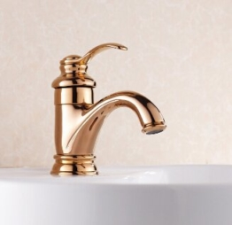 Tourmeler Hochwertige goldene Messing Waschbecken Wasserhahn warmes und kaltes Bad Armatur Waschtisch Armatur Waschbecken Mischbatterie Deck montiert, Rose Gold - 1