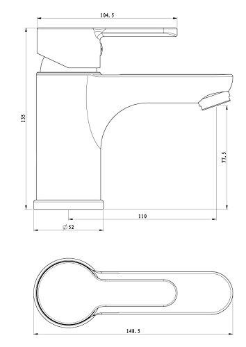 Waschtischarmatur Disegno Nuevo, Einhebelmischer mit Exzentergarnitur, Bicolor, NI075DINWCR - 2