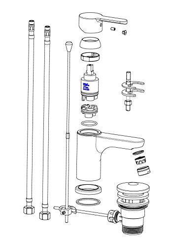 Waschtischarmatur Disegno Nuevo, Einhebelmischer mit Exzentergarnitur, Bicolor, NI075DINWCR - 3
