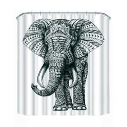 Amazingdeal365 3D Elefant Wasserdicht Wasserabweisender Stoff-Duschvorhang mit 12 Schlaufen (1.8m*1.8mm) (1.8m*1.8m) - 1