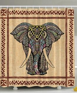 BBFhome Hem Gewichte Polyester Gewebe Duschvorhang Elefant Dekor Ethnic Tribal Chevron Rahmen Marmor Schauen Paisley Hippie Hippie Boho böhmischer Celestial Indische traditionelle Good Luck Badezimmer TextileBrown Beige Grau 90 ( L ) x 180 (H) CM - 1