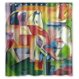 DOUBEE Chic Haltbarer Farbe Kunst Elefant Wasserdichtes Duschvorhänge Shower Curtain 167cm x 183cm - 1